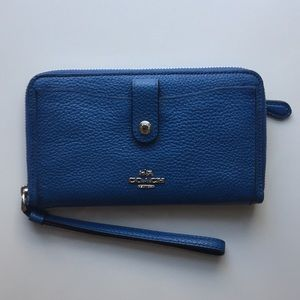 Coach blue leather wallet with phone holder